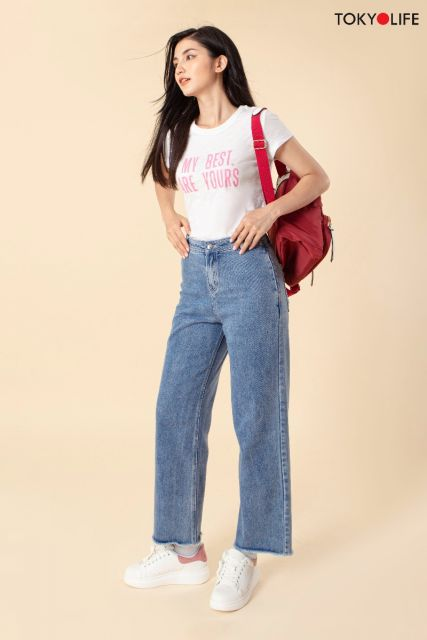 Quần Jeans Nữ ống rộng E9JEA011H